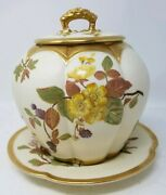 Royal Worcester Biscuit Jar With Undertray Ivory W/ Flowers Gold Trim C.1889
