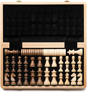 15 Wooden Chess Checkers Set Folding Board 3 King Height German King New