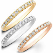 1.7 Ct Round Cut Natural Diamond 14k White/rose/yellow Gold Stackable Band
