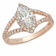 1.2 Ct Marquise Cut Natural Diamond Stone Solid 14k Rose Gold Halo Ring