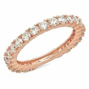 1.2ct Round Cut Natural Vs1 Conflict Free Diamond 18k Pink Gold Eternity Band