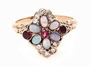 Antique Opal Ruby Diamond Cocktail Ring Yellow Gold Vintage Victorian Original