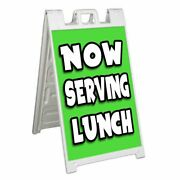 Now Serving Lunch Signicade 24x36 Aframe Sidewalk Sign Banner Decal Food