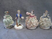 Vintage Irish Dresden Lot 4 Lace Figurines- 1970's Read- Some Damage