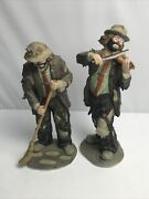 Emmett Kelly Jr. Lot 2 Clown Figurines - Violin Player And Sweeping With Broom