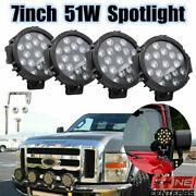 4pcs 7inch 51w Led Work Light Spot Beam Offroad Truck Round 4wd Fog Driving Lamp
