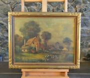 Antique Oil Painting - English French Village Houses Pond Geese - Le Blond