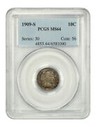 1909-s 10c Pcgs Ms64 - Barber Dime - Colorful Toning