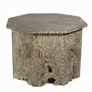 Saltoro Sherpi Octagon Shape Wooden Side Table With Intricate Carvings, Brown