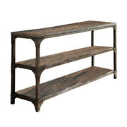 Saltoro Sherpi Gorden Console Table With 2 Shelves Weathered Oak And Antique