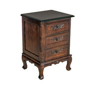 Saltoro Sherpi Traditional 3 Drawer Chest With Wooden Carvings And Cabriole