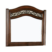 Saltoro Sherpi Wooden Mirror With Carvings And Molded Details, Brown