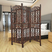 Decorative 3 Panel Mango Wood Screen With Abstract Carvings, Brown ,saltoro