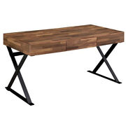 Industrial 3 Drawer Writing Desk With X Legs Brown And Black Saltoro Sherpi