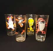4 Vintage Looney Tunes 1973 Pepsi Collector Series Glasses 6 1/4 Tall 2