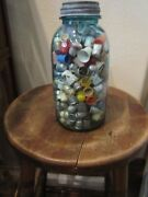 Thimble Collection 75 Years About 300 Thimblesandnbsp In Ball Mason Jar And Zinc Lid