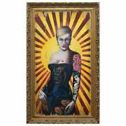 David Hall Oil Painting Of A Tattooed Lady In Cobalt Blue Dragon Oriental Corset
