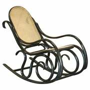 Vintage Thonet Ebonised Black Rattan Bergere Rocking Chair Lovely Small Archair