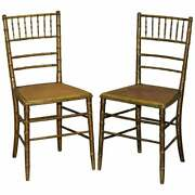 Pair Of Original Giltwood Famboo Regency Bergere Chairs With Period Gold Gilding