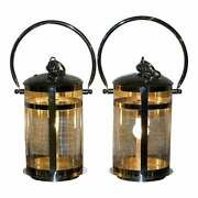 High End Twin Cylindrical Glass Affects Chromed Hanging Or Table Storm Lanterns