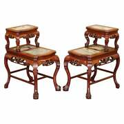 Pair Of Chinese Hand Carved Rosewood Marble Side Tables With Claw And Ball Feet