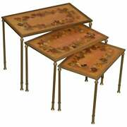Antique Nest Of Three French Circa 1920 Bronze Pressed Flowers Tables Regency 3