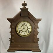 Antique Vintage Ansonia Toronto Clock Carved Oak As-is/for Parts