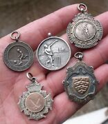 Five Antique Vintage Sporting Pocket Watch Chain Fobs Medals 2 Gold Centre