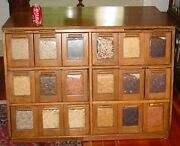 Antique Neat Oak 18 Drawer Bean Or Seed Cabinet---------15631