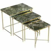 Vintage Italian Nest Of Three Tables Circa 1940and039s Brass With Thick Marble Top