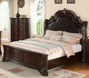 Formal 1pc Upholstery Beautiful Queen Bed Solid Wooden Furniture Sturdy Durable