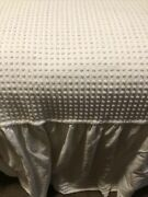 Vintage Twin White Polka Dot Cotton Chenille Bedspread One Piece With 19 Skirt
