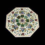 42 Table Top Marble Inlay Floral Handmade Home And Garden Decor