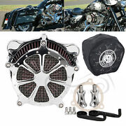 Chrome Frame Air Cleaner Red Filter And Black Rain Sock For Harley Electra Glide