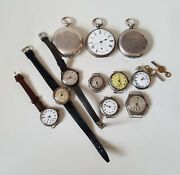 Job Lot Of Vintage Silver Cased Wrist Watches And Pocket Watches Spares - Repairs