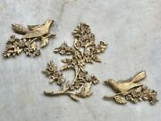 Vintage 1960andrsquos Syroco Inc. Floral Bird Tree Wall Plaques Hanging 20 And 9andrdquo Tall