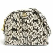 499621 Ofidia Snake Leather Double Small Shoulder Bag Gray Made In Italy