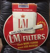 Vintage 50andrsquos L And M Filters Metal Embossed Die Cut Cigarette Advertising Sign