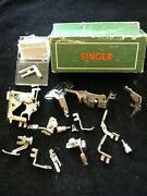 Vintage Green Cardboard Singer Box With 13 Singer/simanco Foot Attachments