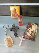 Lot Collection Vintage Cross Cards Bottle Icon Holy And Other Religious Greece