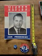 Vintage George Wallace For President Bulletin Poster Political Pin Button Lot