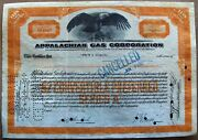 Stock Certificate Appalachian Gas Corp. 1931. Back With Documentar. And Tax Stamps