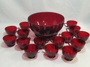 Vintage Anchor Hocking Royal Ruby Red Glass Punch Bowl Base 15 Cups Depression