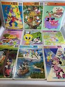Vintage Lot Of 18 Golden And Whitman Frame Tray Puzzles Disney Little Mermaid Pooh
