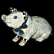 Mackenzie Childs Art Pottery Piggy Bank Pigadilly 2010 Dh Floral Pattern