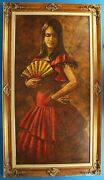 Chuck Oberstein Dancing Lady Oil Painting On Canvas Well Framed 1968 48 X 24
