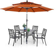 Pv Patio Furniture Set Of 6 Dining Chairs Table With Umbrella Outdoor Stackable