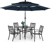 Pv Outdoor Patio Dining Furniture Set Of 6 Chairs Stackable Table With Umbrella