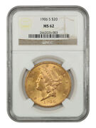 1906-s 20 Ngc Ms62 - Liberty Double Eagle - Gold Coin