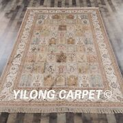 Yilong 6and039x9and039 Handknotted Traditional Silk Rug Four Season Indoor Carpet J06b